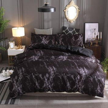 New Black Marble Pattern Bedding Sets Duvet Cover Set 2/3pcs Bed Set Twin Double Queen Quilt Cover (No Sheet No Filling)
