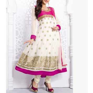 White Embroidered Georgette Anarkali Suit