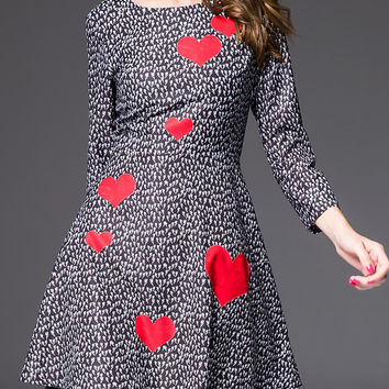 Black and White Long Sleeve Heart Printed Dress with Lace Hemline