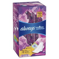 Always Radiant Size 1 Regular Pads with Wings, Scented, 30 Count - Walmart.com