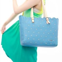 Fashion Cute Hole Hollow Out Lace Handbag-blue from styleonline