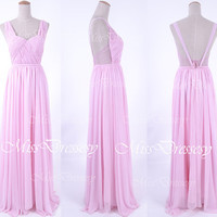 Straps V Neck Pink Long Chiffon Prom Dresses, Pink Evening Gown, Wedding Party Dresses, Bridesmaid Dresses, Formal Gown