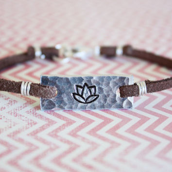 lotus bracelet, customizable symbol bracelet, stamped silver tone, lotus flower bracelet, leather bracelet, yoga jewelry, yoga bracelet