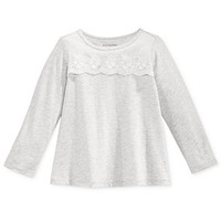 First Impressions Baby Girls' Long-Sleeve Lace-Detail T-Shirt, Only at Macy's | macys.com