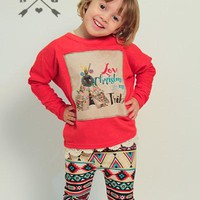 Kids Love Christmas With My Tribe Patch on Red Tunic Sweater