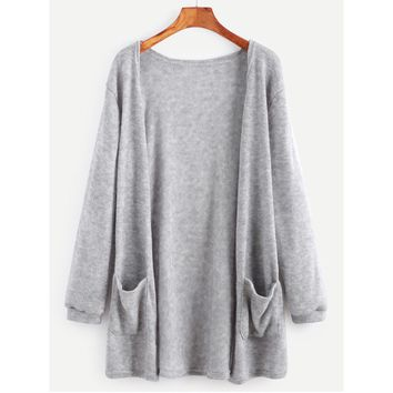 Autumn Knitted Long Sleeve Sweater Coat Ladies Loose Casual Pocket Cardigan