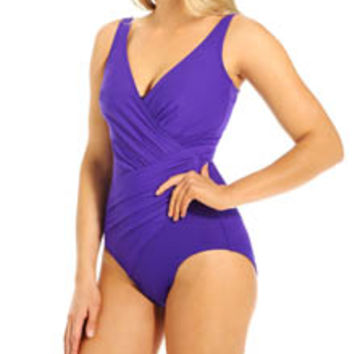 Miraclesuit 451688 DD Solid Oceanus Side Wrap One Piece Swimsuit