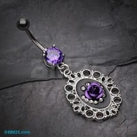 Vintage Purple Filigree Rose Belly Button Ring