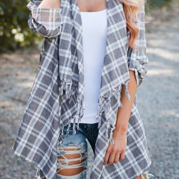 Turn-Down Neck Plaid Asymmetrical Cardigan