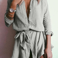 Belted Grey Button-Down Shirt Tunic