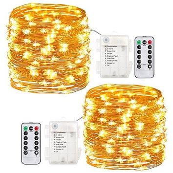 2 Pack Fairy Lights Fairy String Lights Battery Operated Waterproof 8 Modes 60 LED 20ft String Lights Copper Wire Firefly Lights Remote Control for DIY Wedding Party Dinner (Warm White)