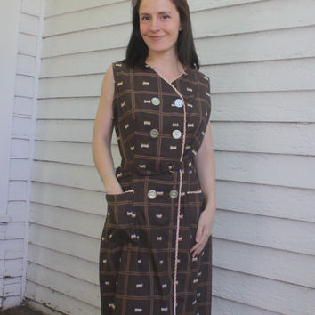Brown Plaid Dress Gingham Check Print Rockabilly Vintage Cotton M