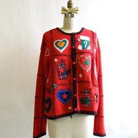 Vintage Christmas Applique Cardigan . Holiday Sweater Party
