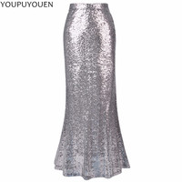 Fashion Sequin Womens Long Solid Mermaid Skirt Sexy Plus Size High Waist Wrap Maxi 2017 Spring Summer Bodycon Fishtail Skirts