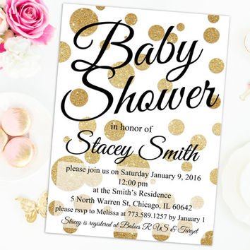 Gold Baby Shower Invitation printable gender neutral baby shower invite CUSTOMIZE COLOR digital baby shower invitation diy gold glitter dots