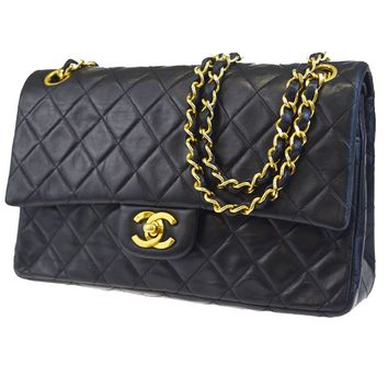 Auth CHANEL CC Matelasse Double Flap Chain Shoulder Bag Leather Black 664BC490