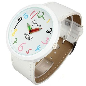 PEAPIX3 Women Big Case Pointer Girls Leather Strap Quartz White Pencil Wrist Watch = 1932470596