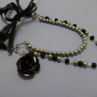 Beautiful, Black, Gray, Pearl, Double Strand, Black Rose, Black Ribbon, Glass Bead, Necklace