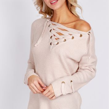 Knit Lace-Up Sweater Champagne