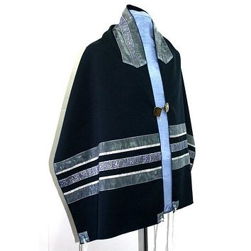 Navy Tallit Prayer Shawl - Silk Panel