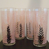 PINK, BLACK, and WHITE Vintage Tall Glasses