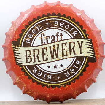 35cm Vintage Metal Iron Round  Brew Beoir Beers  DRINK OF BOTTLE Cap Tin Sign Bar pub home Wall Decor Retro Metal Art Poster