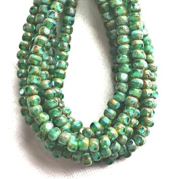 50 4 x 3mm, Tricut, Tri-cut, 3 cut Round Czech glass beads, turquoise green picasso 6/0 seed beads C45101