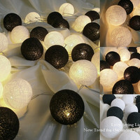 Black and White Cotton Ball String Lights For Wedding and House decoration (20 Flowers/Set)
