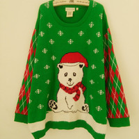 Sweet Bear Wearing Christmas Hat Ugly Christmas Sweaters for Women Funny Plus Size Pullovers XL-XXXL