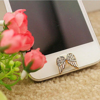 1PC rhinestone angel wing/Bling Crystal Frame iPhone Home Button Sticker for iPhone 4,4s,Apple phone, 5 & iPad, Phone Charm