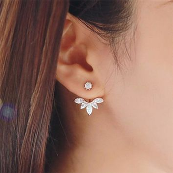 Plated Leave Crystal Stud Earrings Jewelry