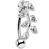 Clear Gem Stainless Steel Creeping Vine Top Mount Belly Ring   Body Candy Body Jewelry