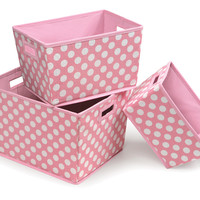Badger Baskets Nesting Trapezoid 3 Basket Set (Pink Polka Dots)