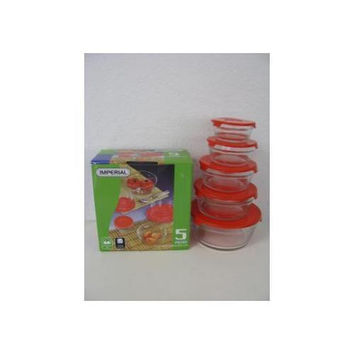 5 Pc. Glass Container with Red Lids