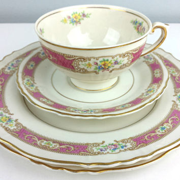 Vintage Federal Syracuse China Teacup Set, Pink Gold Cream Floral Teacup Set, Made in USA Teacup, Shabby Chic Home Decor, Vintage Home Decor