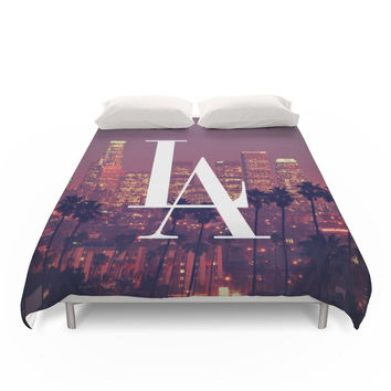 Society6 Downtown LA Vintage Skyline Typography Duvet Covers