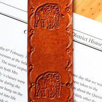 Elephant Bookmark, Hand Tooled Leather Bookmark, African Elephant Book Marker, Handcrafted Leather Marker, Handmade Bookmark, Elephant Gifts