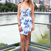 JASMINE DRESS , DRESSES, TOPS, BOTTOMS, JACKETS & JUMPERS, ACCESSORIES, 50% OFF , PRE ORDER, NEW ARRIVALS, PLAYSUIT, COLOUR, GIFT VOUCHER,,Blue,White,Print,CUT OUT,BACKLESS,STRAPLESS,BODYCON,MINI Australia, Queensland, Brisbane