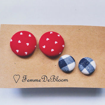 "Handmade ""Plaid n Hearts"" Red and Navy Plaid Fabric Button Earrings Vintage Inspired"