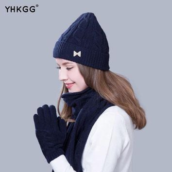 CREYWQA 2016 Women Scarf And Hat Gloves Set Knitted Girls Thicken Knitting  Winter Warm