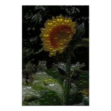Night Hearts Sunflower Abstract Poster