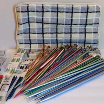 Vintage Knitting Organizer Case- Knitting Needle SETS Plus MORE - 85 Pieces in Woven Fabric & Vinyl Zippered Case- Instant Mega Collection