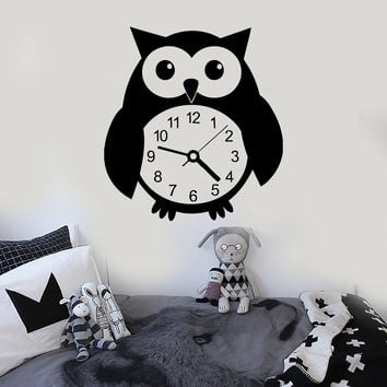 Wall Stickers Vinyl Decal Funny Owl Bird Clock Great Decor for Kids Room (ig694)