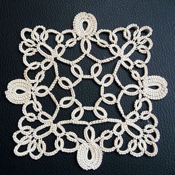 Tatting square doily ivory-home decor-ivory coasters-handmade doily-lace doily-Housewarming-wedding coasters