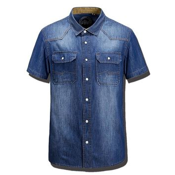 Summer Fashion Mens Denim Shirts Water Washing Cotton Brand Short Sleeve Blue Pocket Brand Clothing Man's Slim Fit Jeans Clothes