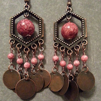 Pink and Copper Bohemian Chandelier Earrings - Pink Fossil Stone Beads with Copper Coin Dangles and Hexagon Component - Boho Gypsy Earrings