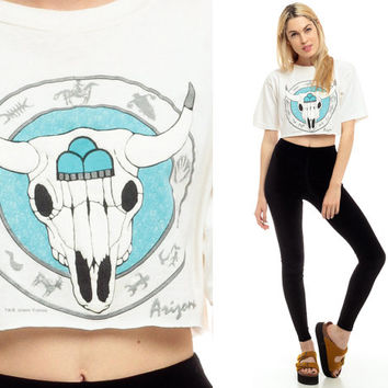 Cow SKULL Shirt Biker T Crop Top Cropped Tee Native American Petroglyph 80s Southwestern Tshirt Vintage Arizona Graphic White Small Medium