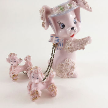Vintage Pink Spaghetti Poodle Pink Poodle With Chain And Puppies Kitschy Poodle Kitschy Poodle With Hat Figurine Eyelashes Mid Century