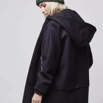 Wool Blend Overlay Hooded Coat - Topshop