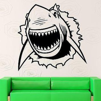 Wall Sticker Vinyl Decal Shark Ocean Marine Crack Room Decor Unique Gift (ig2142)